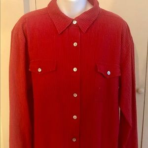 Chico's Apparel Red Textured Shirt Size 3 (14/16)
